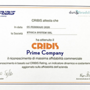 Ethica System riceve attestato Prime Company Cribis