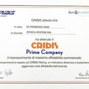 Ethica System riceve attestato Prime Company Cribis